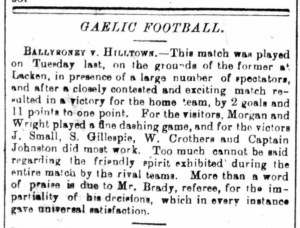 Is this the first written report of a Gaelic football match in down? Can anyone prove otherwise?